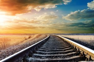 railway railroad track sky clouds