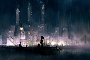 rain anime girls cityscape night city anime