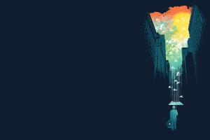 rain birds cityscape umbrella illustration simple artwork minimalism