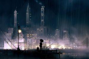rain cityscape night lantern artwork