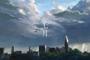 rain the garden of words anime cityscape clouds sky artwork