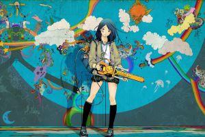 rainbows anime girls miniskirt anime colorful chainsaws