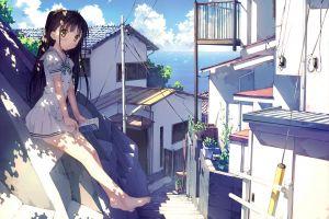 reading nagisa (kantoku) anime girls skirt legs sea village sunny afterschool of the 5th year sitting ponytail school uniform anime kantoku