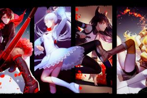 red anime girls rooster teeth panties rwby black blake belladonna white dress yang xiao long anime weiss schnee ruby rose (character) collage yellow dress