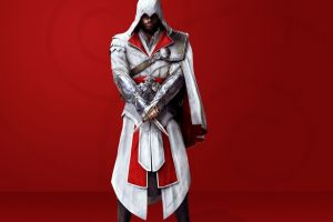 red background video games ezio auditore da firenze assassin's creed assassin's creed: brotherhood simple background