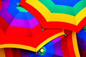 red colorful umbrella