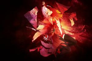 red dark anime anime girls guilty crown artwork yuzuriha inori