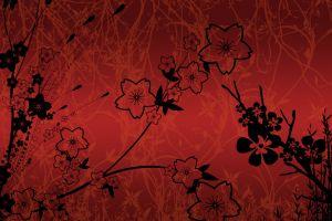 red digital art flowers