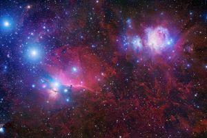 red digital art space nebula stars space art