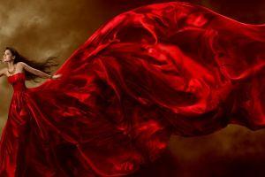 red dress red women model dress