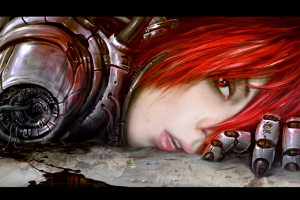 red eyes artwork cyborg anime anime girls face redhead science fiction