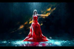red eyes fantasy art fantasy girl nanfe  red dress artwork