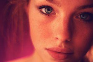 red eyes model blue eyes face women portrait
