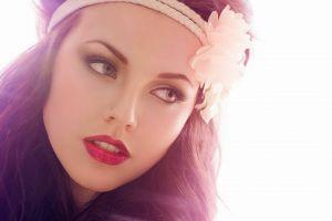 red lipstick face makeup women model