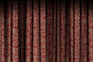 red texture pattern curtain