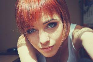 redhead closeup women piercing