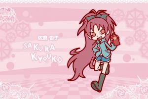 redhead kanji chibi mahou shoujo madoka magica anime puyo puyo pocky streetwear crossover pink background sakura kyouko text ponytail