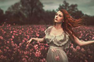 redhead long hair model field women outdoors women
