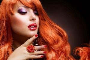 redhead long hair model women makeup