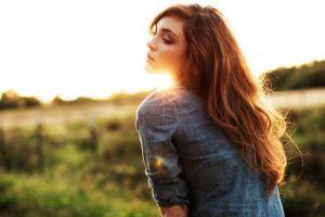 redhead outdoors brunette women outdoors long hair face women