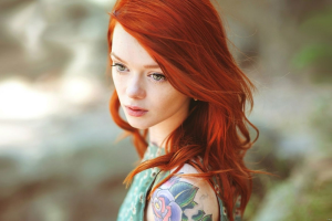 redhead pornstar green eyes women tattoo suicide girls