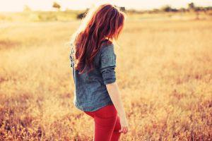 redhead women long hair outdoors women outdoors field