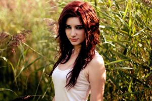 redhead women outdoors susan coffey long hair lingerie women white tops model