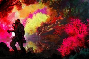 reflection aliens spacesuit spaceship science fiction forest colorful lake astronaut crash photo manipulation fantasy art planet trees military aircraft