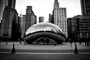 reflection chicago sculpture monochrome