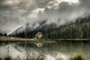 reflection clouds landscape water trees hdr nature building