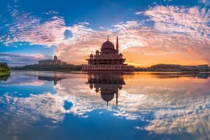 reflection clouds sky architecture malaysia