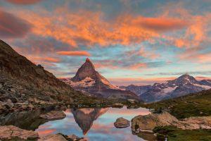 reflection mountains sky matterhorn alps landscape nature