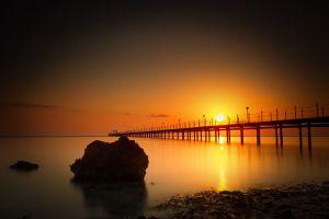 reflection sea nature sunset