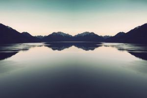 reflection sky water nature lake mountains landscape