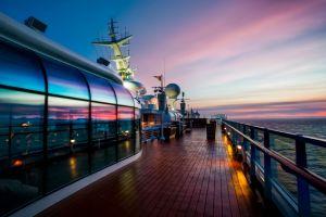 reflection sunset ship sea