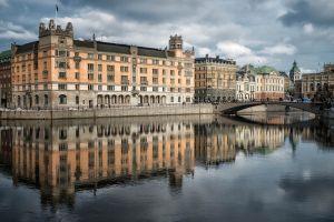 reflection sweden bridge stockholm cityscape building river