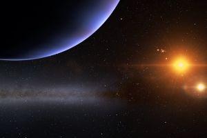 render galaxy stars planet triple screen space art multiple display cgi space engine digital art