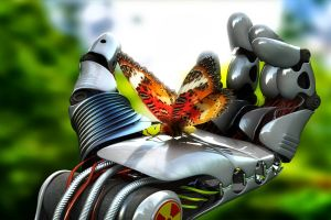 render hands butterfly science fiction robot animals insect digital art