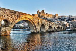 river cityscape bridge hdr snow building