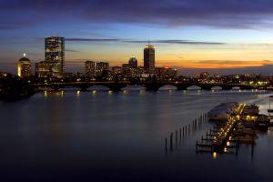 river cityscape bridge sunset