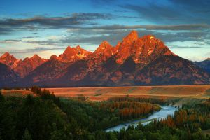 river fall mountains wyoming landscape clouds usa blue sky nature