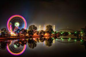 river hdr ferris wheel lights reflection wheels cityscape bridge