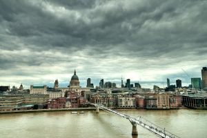 river london millennium bridge building clouds bridge cityscape