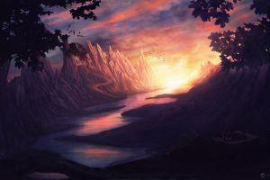 river mountains desktopography cats landscape clouds digital art fantasy art castle sun