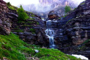 river mountains mist nature waterfall