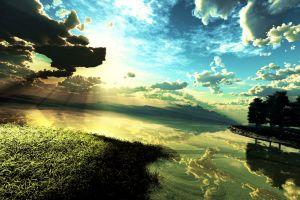 river nature digital art clouds landscape