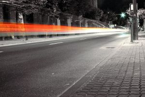 road city light trails long exposure selective coloring
