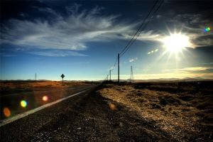 road landscape clouds sunlight