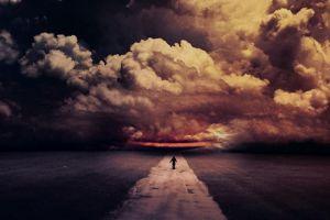 road sky clouds digital art