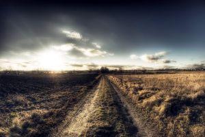 road sky sunlight clouds landscape dirt road